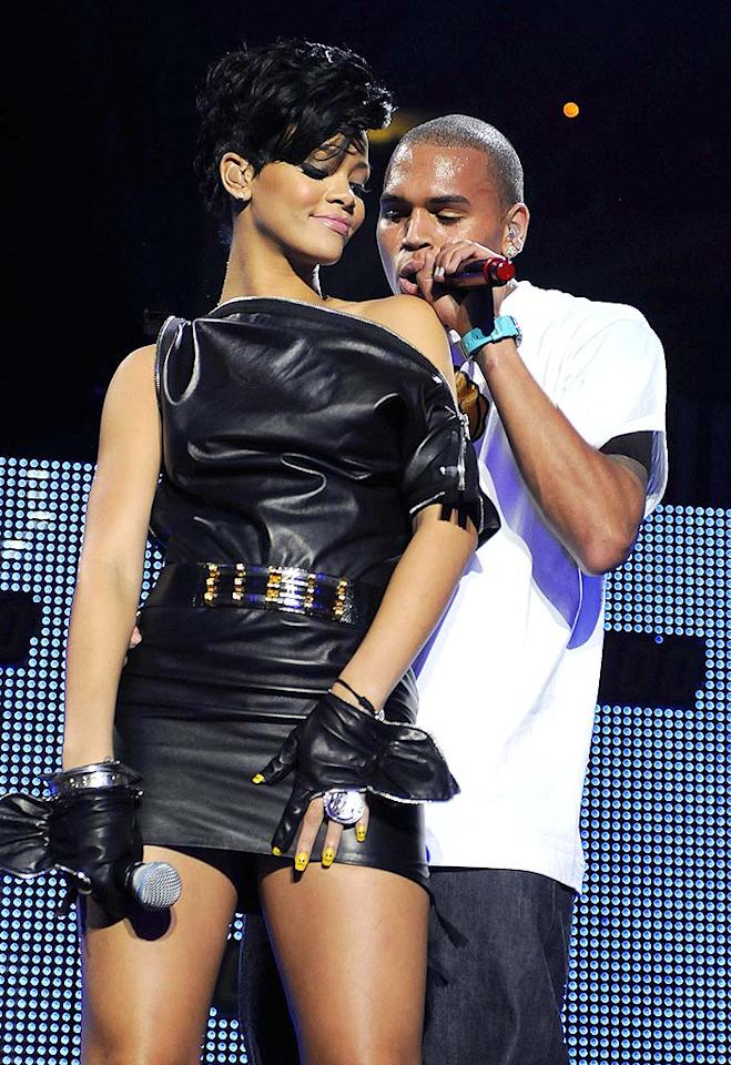 """Rihanna and Chris Brown's split was undoubtedly one of 2009's biggest breakups. And, while many people assume the couple ended things in February following their horrific domestic violence dispute, we tend to believe that Rihanna didn't cut him off completely until months later. Kevin Mazur/<a href=""""http://www.wireimage.com"""" target=""""new"""">WireImage.com</a> - December 12, 2008"""