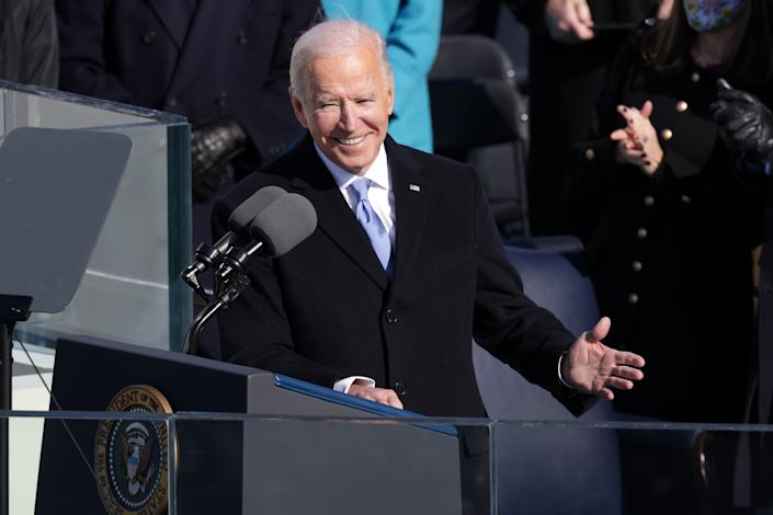 U.S. President Joe Biden delivers his inaugural address on the West Front of the U.S. Capitol. (Alex Wong/Getty Images)