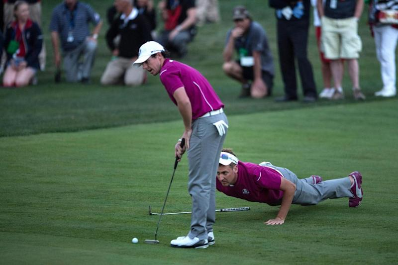 Pair | Rory McIlroy and Ian Poulter played alongside one another on the Saturday afternoon at Medinah in 2012 (AFP/Getty Images)