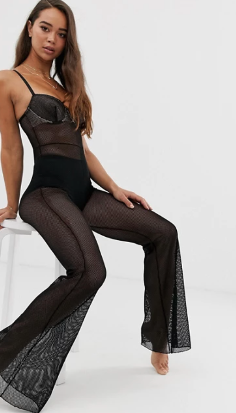 model wearing sheer bodysuit from ASOS