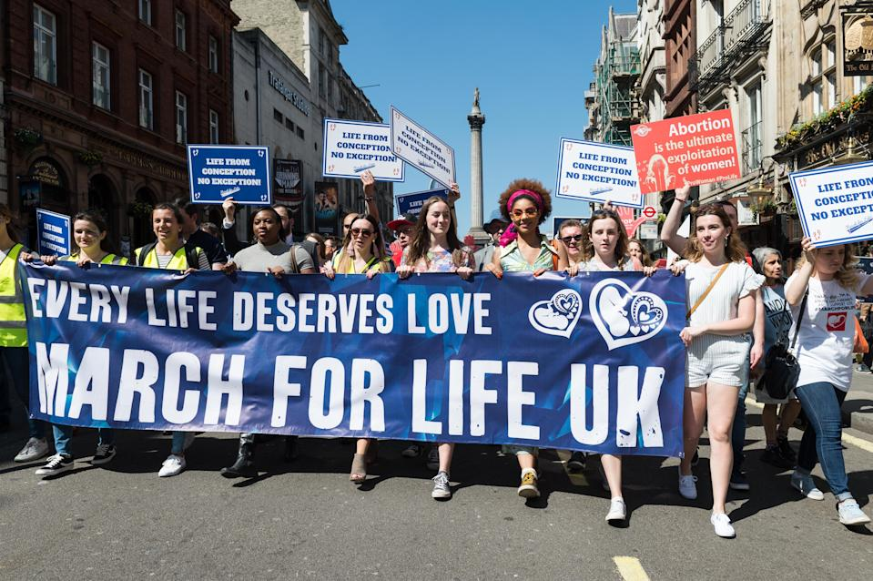Thousands of anti-abortion protesters take part in the fifth annual March For Life through central London in 2018. (Getty)
