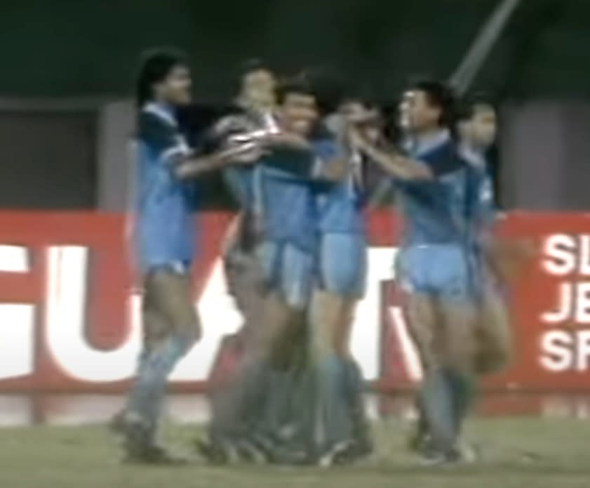 Singapore striker K Kannan celebrates with his teammates after scoring a goal in a Malaysia Cup match against ATM in 1988. (SCREENGRAB: YouTube)