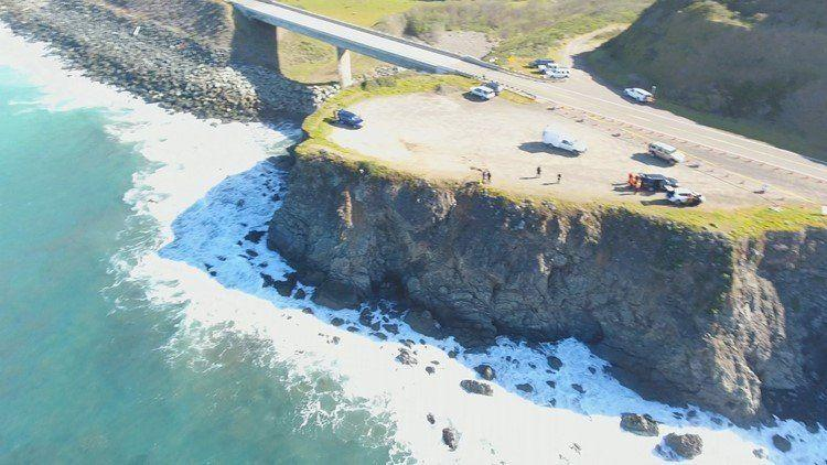 This is the spot on the Mendocino coast where the Harts' SUV plunged into the ocean. (Photo: Courtesy Mendocino Sheriffs Office)