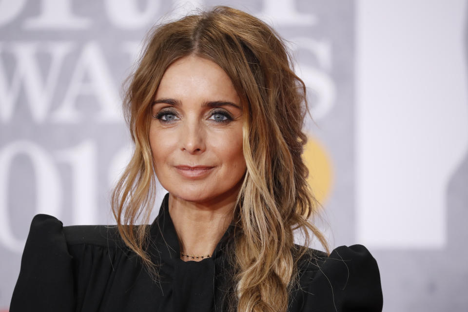 Louise Redknapp poses on the red carpet on arrival for the BRIT Awards 2019 in London on February 20, 2019. (Photo by Tolga AKMEN / AFP / Getty Images)