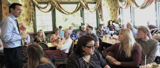 U.S. Senate candidate Rep. Evan Jenkins speaks May 10, 2017, at the Poky Dot Restaurant in Fairmont, W.Va. Jenkins recently announced his bid against Democratic Sen. Joe Manchin, the state's popular former governor whose conservative record often puts him at odds with his party. (Photo: Leah Nestor/Times-West Virginian via AP)