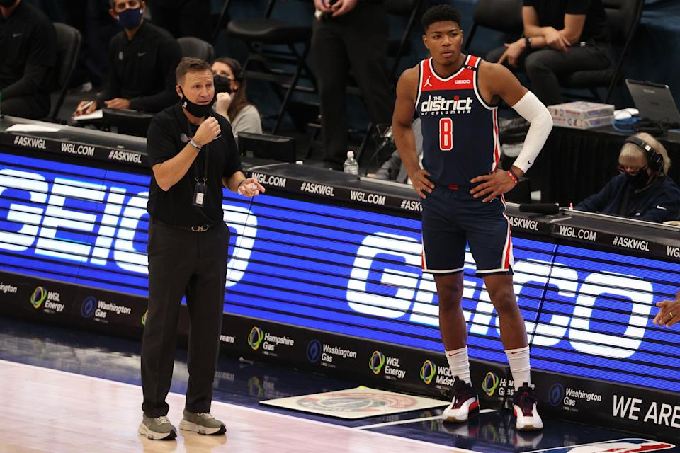 The Washington Wizards hosted the Phoenix Suns on Monday night, before canceling Tuesday's practice over coronavirus concerns. (Patrick Smith/Getty Images)