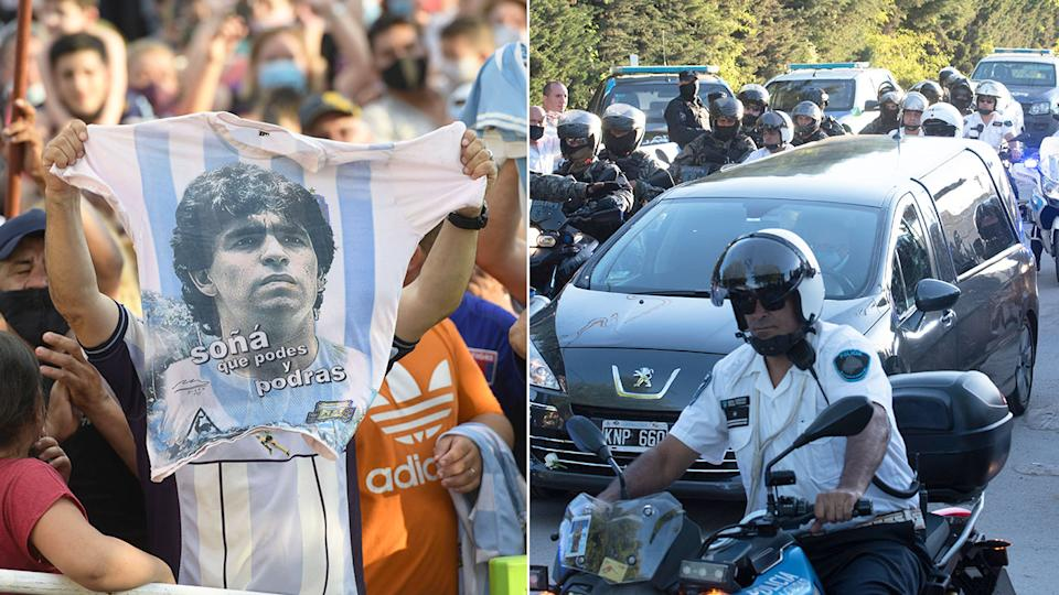 Seen here, fans pack the streets as Diego Maradona's hearse is driven through Buenos Aires.