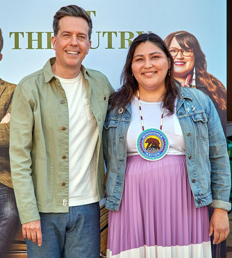<p><em>Rutherford Falls </em>co-creators Ed Helms and Sierra Teller attend a photo call for an event at The Autry Museum of in L.A. on June 26. </p>