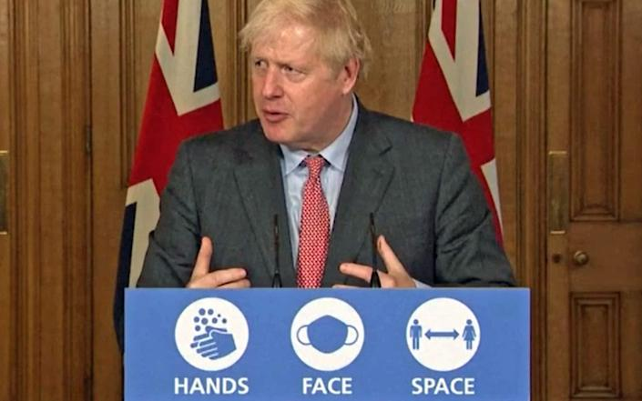 Screen grab of Prime Minister Boris Johnson, during a media briefing in Downing Street, London, on coronavirus - PA Video/PA Wire