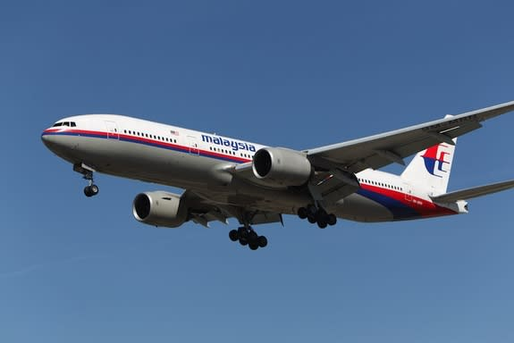 A Malaysia Airlines Boeing 777 lands at Los Angeles International Airport in February 2013.