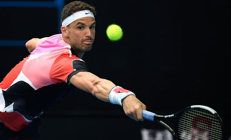 Grigor Dimitrov in action during an Australian Open match against Tommy Paul. AP