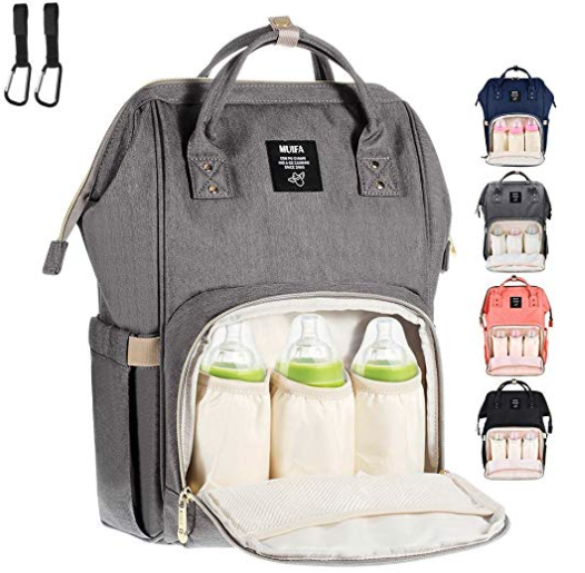 MUIFA Diaper Bag Multi-Function Waterproof Travel Backpack Nappy Bag for Baby Care with Insulated Pockets, Large Capacity, Durable (Grey). Available in four colours. Image via Amazon.