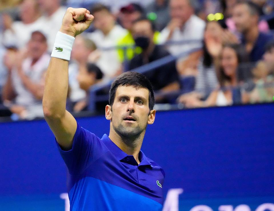 Novak Djokovic reacts after a fourth-set winner against Jenson Brooksby on Day 8 at the US Open.