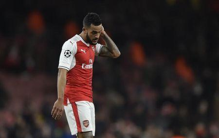 Britain Football Soccer - Arsenal v Bayern Munich - UEFA Champions League Round of 16 Second Leg - Emirates Stadium, London, England - 7/3/17 Arsenal's Theo Walcott looks dejected after the game  Reuters / Hannah McKay Livepic