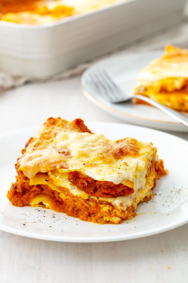 "<p>Those layers of cheese, though. </p><p>Get the recipe from <a href=""https://www.delish.com/cooking/recipe-ideas/a21972090/easy-pumpkin-lasagna-recipe/"">Delish. </a></p>"