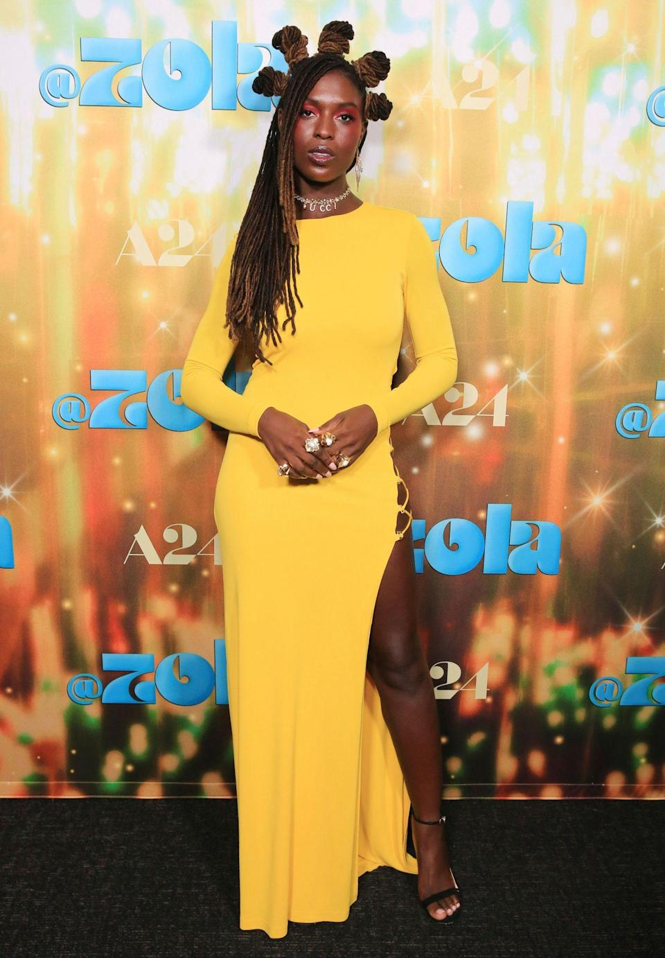 <p>Jodie Turner-Smith stuns in a yellow gown at the L.A. special screening of A24's <em>Zola</em> on June 29.</p>