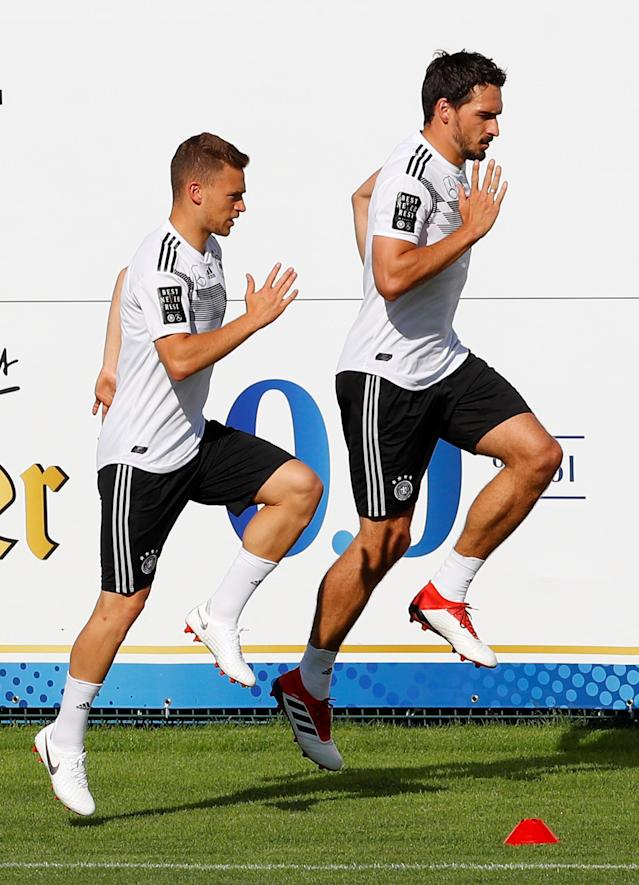 Soccer Football - FIFA World Cup - Germany Training - Eppan, Italy - May 26, 2018 Germany's Joshua Kimmich and Mats Hummels during training REUTERS/Leonhard Foeger