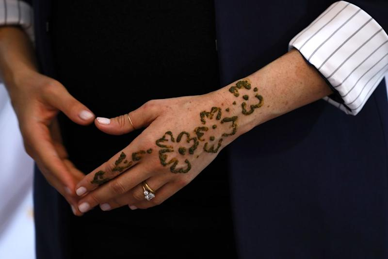 98e04878c3506 Meghan Markle Receives Henna Tattoo in Morocco to Celebrate Her ...