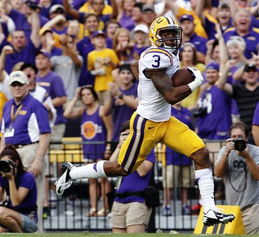 LSU punt returner Odell Beckham (3) heads to the end zone for a touchdown against North Texas in an NCAA college football game in Baton Rouge, La., Saturday, Sept. 1, 2012. (AP Photo/Bill Haber)