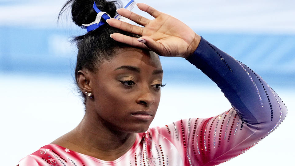 Simone Biles has opened up about her mental state leading into the Tokyo Olympics. (Photo by Toni L. Sandys/The Washington Post via Getty Images)