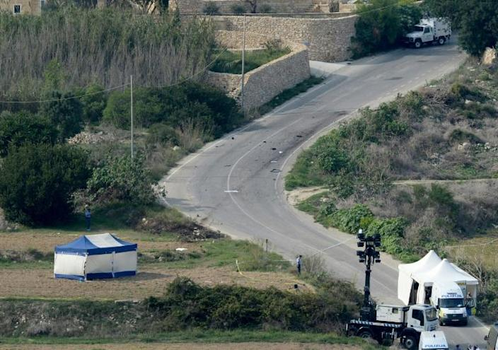 The crime scene where Caruana Galizia was killed by a car bomb close to her home in 2017 (AFP Photo/Matthew Mirabelli)