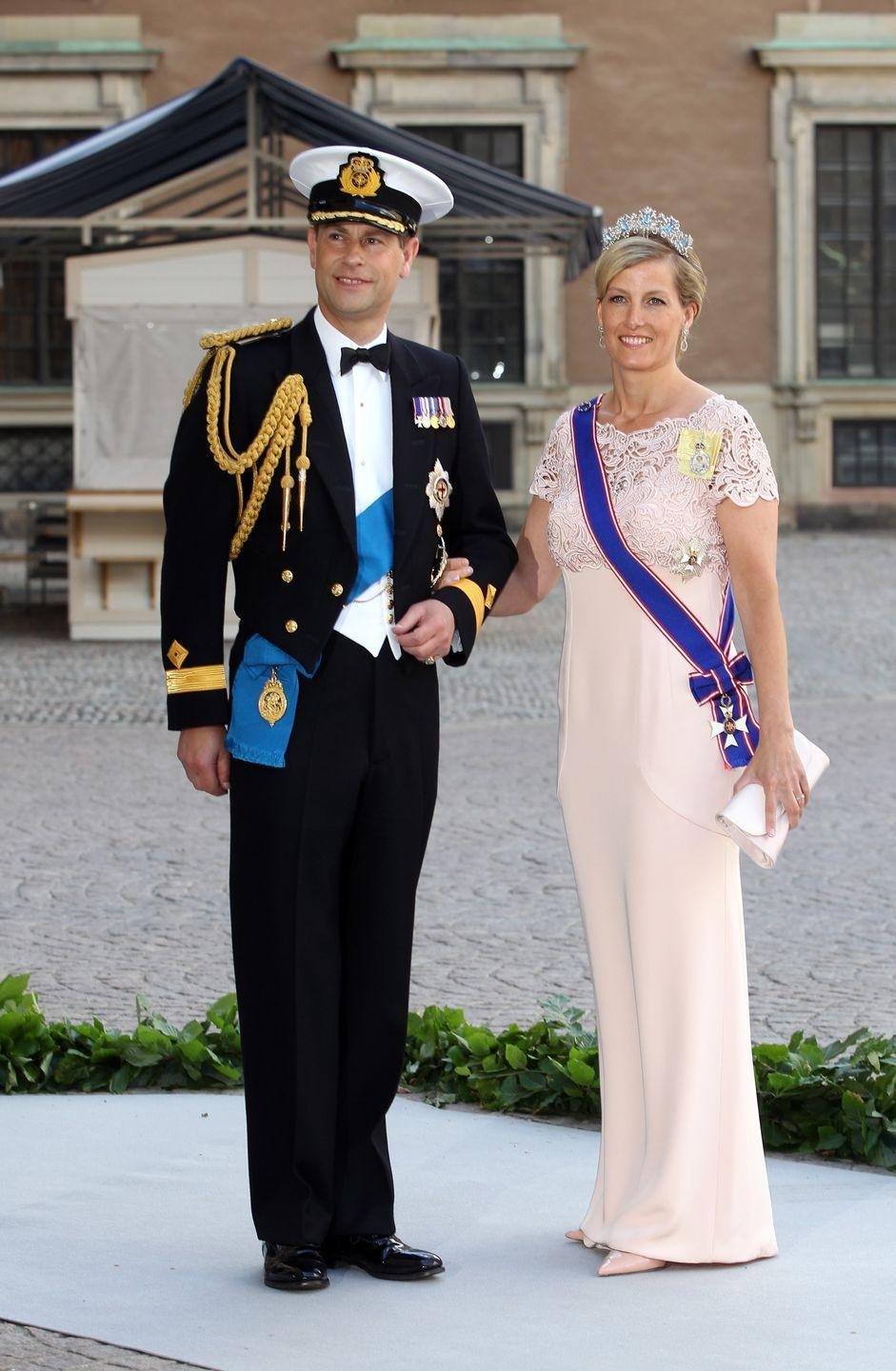 <p>In 2013, Prince Edward and Sophie, Countess of Wessex attended Princess Madeleine of Sweden's wedding to Christopher O'Neill. The Countess wore a pale pink gown with lace detailing on the top. </p>