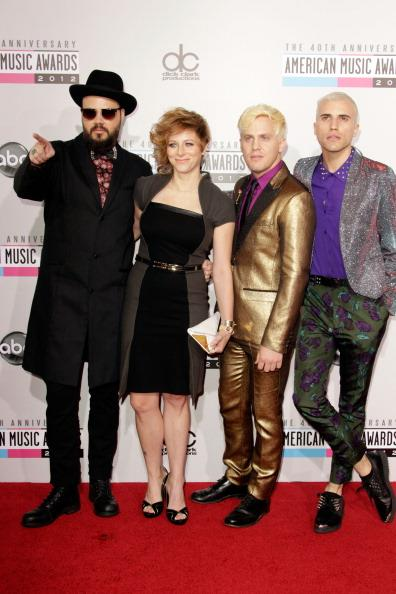 Neon Trees arrives on the 2012 American Music Awards red carpet.