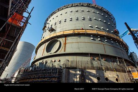 The Vogtle Unit 3, being constructed by primary contactor Westinghouse, a business unit of Toshiba, near Waynesboro, Georgia, U.S. is seen in an aerial photo taken March 2017.  Georgia Power/Handout via REUTERS
