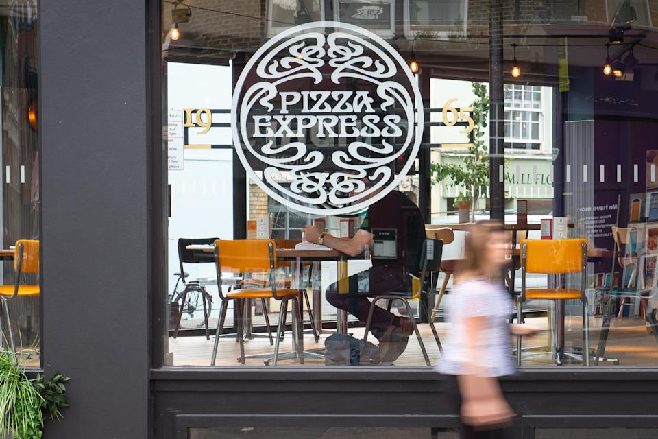 General view of a branch of Pizza Express in London, as the restaurant chain has said it could close around 67 of its UK restaurants, with up to 1,100 jobs at risk, as part of a major restructuring plan. (Photo by Dominic Lipinski/PA Images via Getty Images)