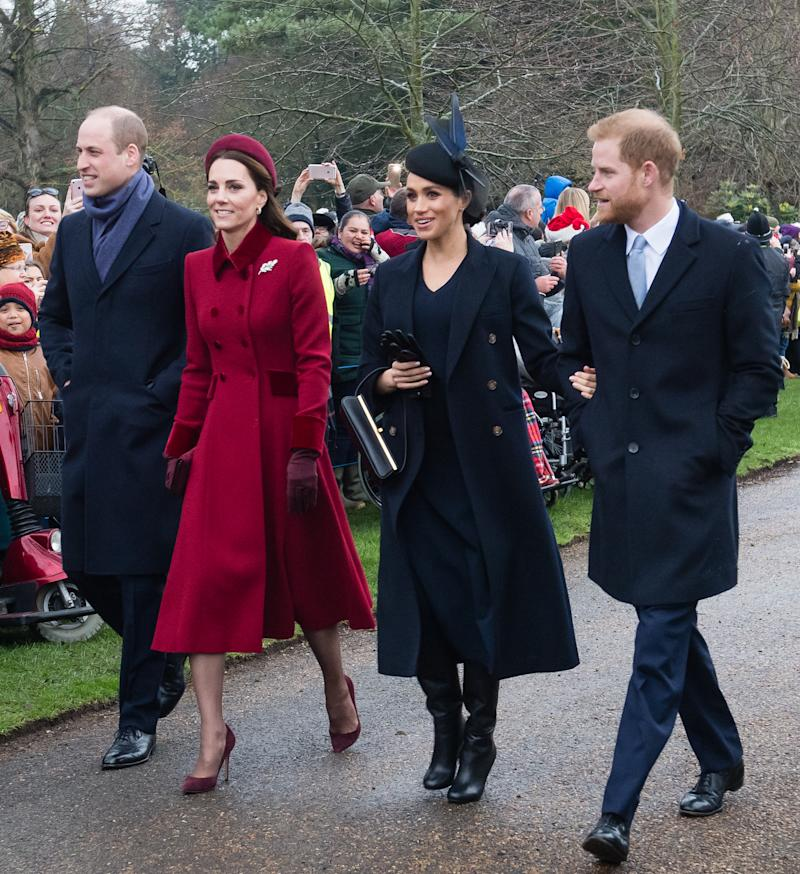Prince William, Duke of Cambridge, Catherine, Duchess of Cambridge, Meghan, Duchess of Sussex and Prince Harry, Duke of Sussex attend Christmas Day Church service at Church of St Mary Magdalene on the Sandringham estate on December 25, 2018 in King's Lynn, England. (Photo by Samir Hussein/WireImage)