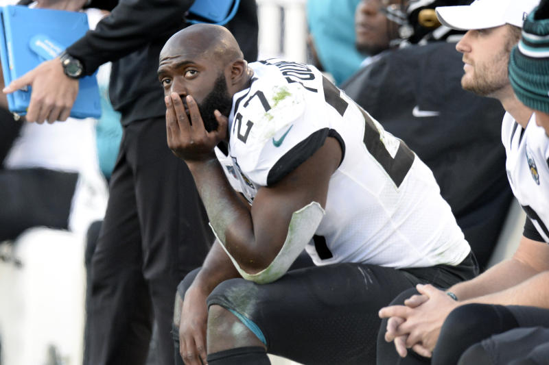 Leonard Fournette has filed a grievance against the Jaguars after being released. (AP Photo/Mark Zaleski, File)