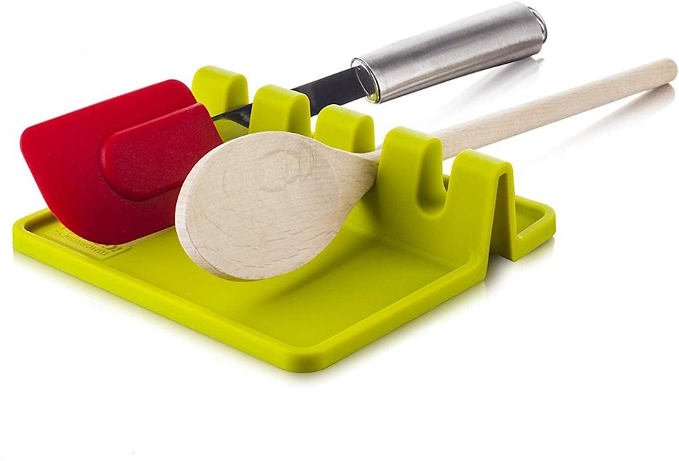 <p>Place this <span>Tomorrow's Kitchen Silicone Utensil Rest</span> ($7) next to your stove.</p>
