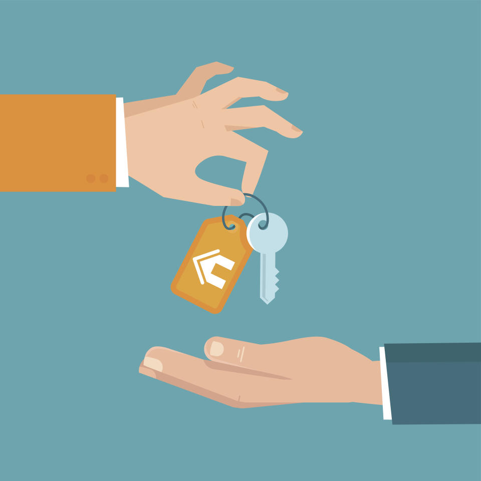 Vector real estate concept in flat style - hands giving keys - sell house icon