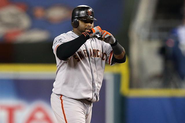 DETROIT, MI - OCTOBER 28: Pablo Sandoval #48 of the San Francisco Giants reacts against the Detroit Tigers during Game Four of the Major League Baseball World Series at Comerica Park on October 28, 2012 in Detroit, Michigan. (Photo by Ezra Shaw/Getty Images)