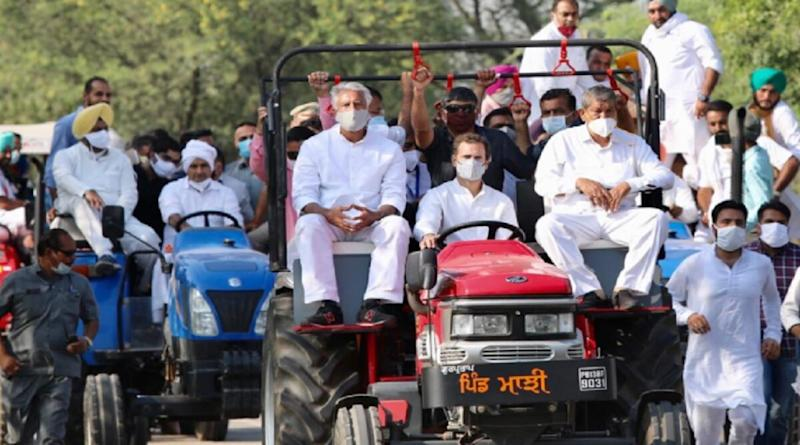 Rahul Gandhi Drives Tractor During Congress's 'Kheti Bachao Yatra' Against Farm Laws in Noorpur, Watch Video