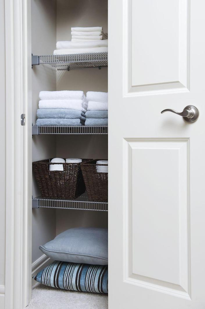 """<p>You can never have enough sheets and towels ... until your closet is overflowing with mismatched, ratty, and well-loved linens. Instead of tucking them away in baskets, place everything straight on the shelves so that you can see exactly what you have. Use shelf dividers to keep everything separated and prevent stacks from toppling over. Rosenthal's top tip: Store sheets sets within the pillowcase to take the stress out of making the bed.<br></p><p><a class=""""link rapid-noclick-resp"""" href=""""https://www.amazon.com/Dividers-Cabinets-Libraries-Separators-Organizers/?tag=syn-yahoo-20&ascsubtag=%5Bartid%7C10060.g.36311015%5Bsrc%7Cyahoo-us"""" rel=""""nofollow noopener"""" target=""""_blank"""" data-ylk=""""slk:SHOP SHELF DIVIDERS"""">SHOP SHELF DIVIDERS</a></p><p><strong>RELATED:</strong> <a href=""""https://www.goodhousekeeping.com/home-products/a22791349/ideal-bed-creation/"""" rel=""""nofollow noopener"""" target=""""_blank"""" data-ylk=""""slk:How to Build the Best Bed Ever"""" class=""""link rapid-noclick-resp"""">How to Build the Best Bed Ever</a></p>"""