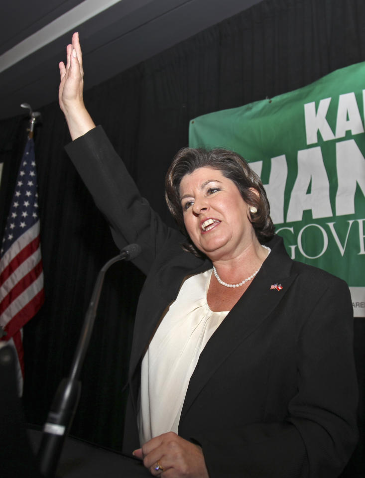 FILE - In a Tuesday Aug. 10 2010 file photo, Georgia gubernatorial candidate Karen Handel waves to supporters during an election-night party in Atlanta in her runoff with former Congressman Nathan Deal for the Republican nomination. According to a source with direct knowledge of decision-making at Komen headquarters in Dallas, a driving force behind Susan G. Komen for the Cure's decision this week to cut breast-screening grants to Planned Parenthood was Handel, who was hired by Komen last year as vice president for public policy after losing a campaign for governor in Georgia in which she stressed her anti-abortion views and frequently denouced Planned Parenthood. Komen's founder and CEO Nancy Brinker, in an interview with MSNBC, denied that, saying Handel didn't have a signifcant roll. (AP Photo/John Bazemore, File)