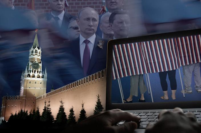 The Kremlin and Russian President Vladimir Putin: Did the Russians hack U.S. election databases? (Yahoo News photo illustration, photos: Maxim Shemetov/Reuters, Sergei Karpukhin/Reuters, AP, AP)