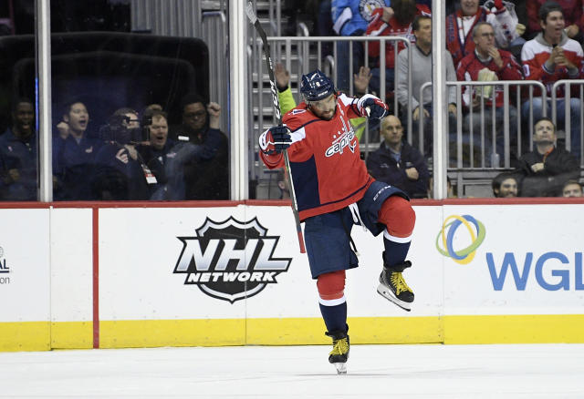 Washington Capitals left wing Alex Ovechkin (8), of Russia, celebrates his goal during the second period of an NHL hockey game against the Pittsburgh Penguins, Wednesday, Nov. 7, 2018, in Washington. (AP Photo/Nick Wass)