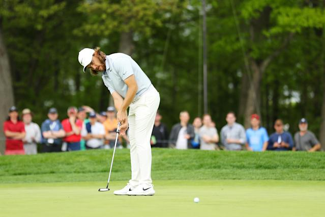 Tommy Fleetwood of England putts on the 11th green during the second round of the 2019 PGA Championship at the Bethpage Black course on May 17, 2019 in Farmingdale, New York. (Photo by Warren Little/Getty Images)