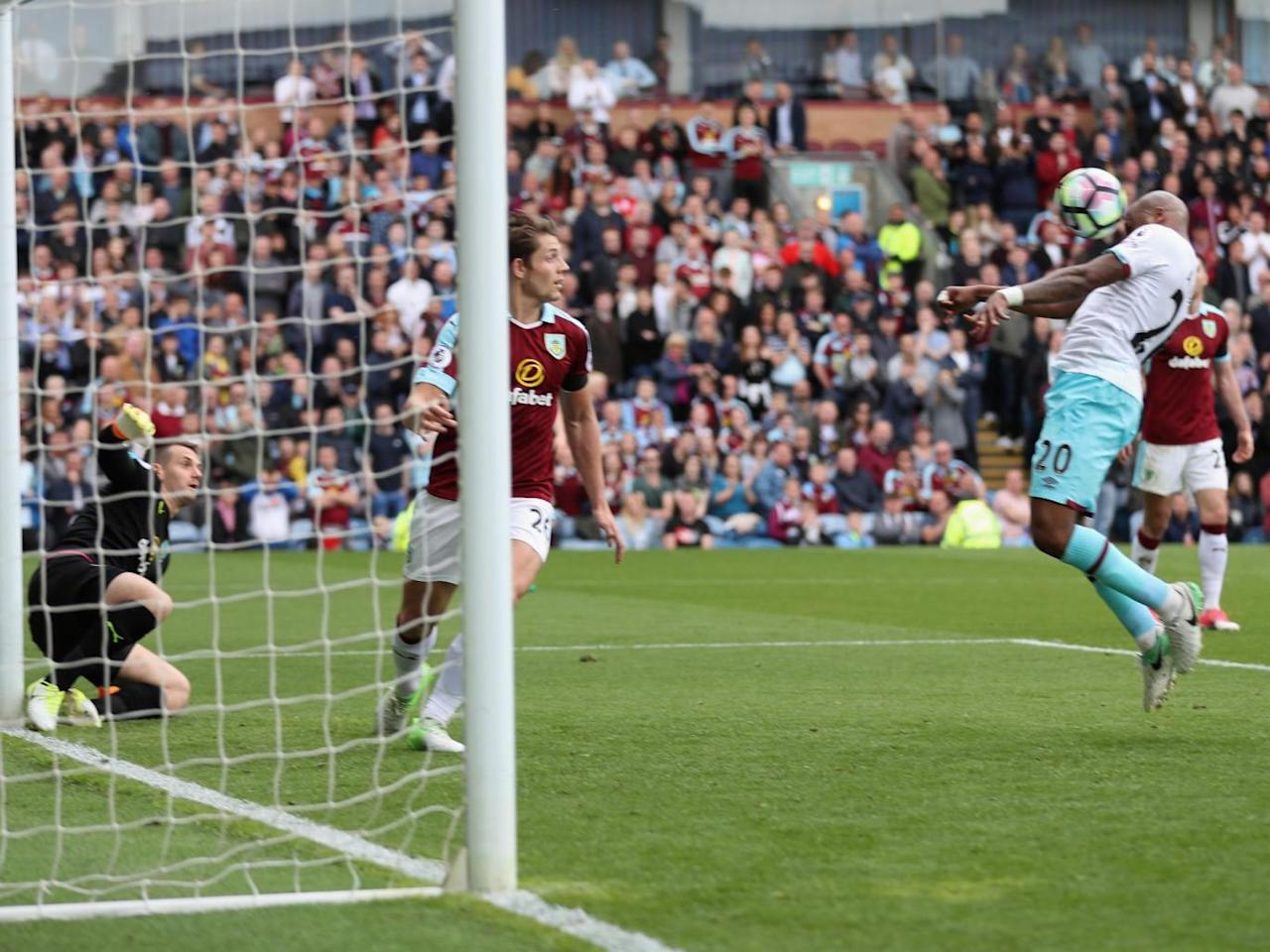 Andre Ayew heads home a late winner as West Ham fight back to finish above Burnley in the Premier League table