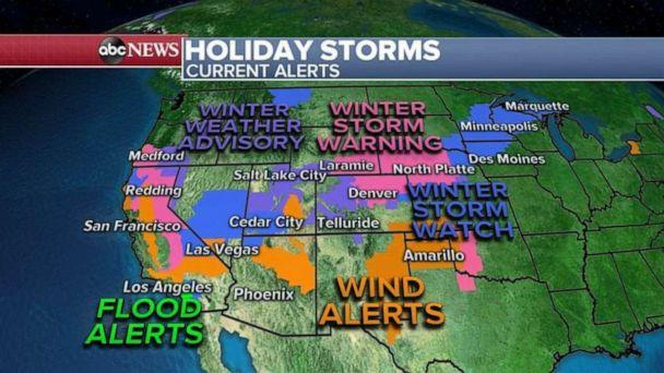 PHOTO: Over 35 million people are under a weather alert this morning from California to Michigan. (ABC News)