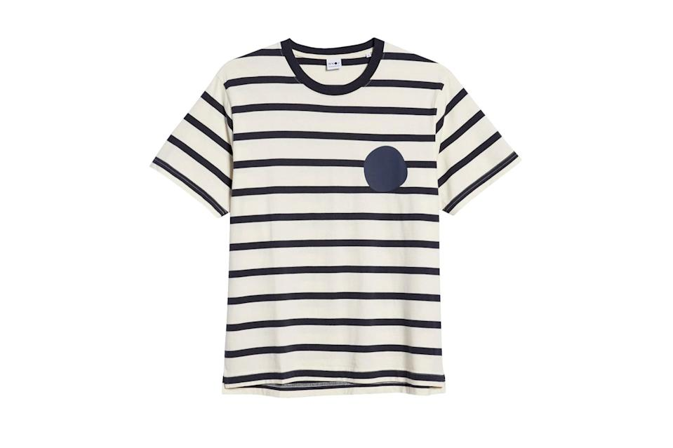 "$90, Nordstrom. <a href=""https://www.nordstrom.com/s/nn07-dylan-stripe-mens-t-shirt/5695806?origin=category-personalizedsort&breadcrumb=Home%2FSale%2FMen%2FNew%20Markdowns&color=off%20white%20stripe"" rel=""nofollow noopener"" target=""_blank"" data-ylk=""slk:Get it now!"" class=""link rapid-noclick-resp"">Get it now!</a>"