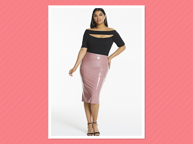 """<p>Vinyl PU Midi Skirt, $40.99, <a href=""""https://www.simplybe.com/en-us/products/edited-by-amber-rose-vinyl-skirt/p/CR198#v=1000000020%3A27%20Inches%7Ccolor%3ACR198_BLUSH%7C"""" rel=""""nofollow noopener"""" target=""""_blank"""" data-ylk=""""slk:simplybe.com"""" class=""""link rapid-noclick-resp""""> simplybe.com</a> </p>"""