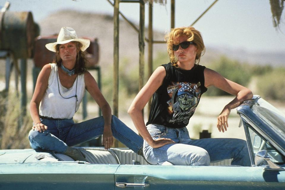 <ul> <li><b>What to wear for Thelma:</b> Sunglasses, light boot-cut jeans, and a graphic black tank top.</li> <li><b>What to wear for Louise:</b> Blue jeans, a white tank top, and a cowboy hat with a handkerchief tied around your neck. Get dusty.</li> <li><b>How to act:</b> You're on the run, so act like convicts, but of the freewheeling feminist variety.</li> </ul>
