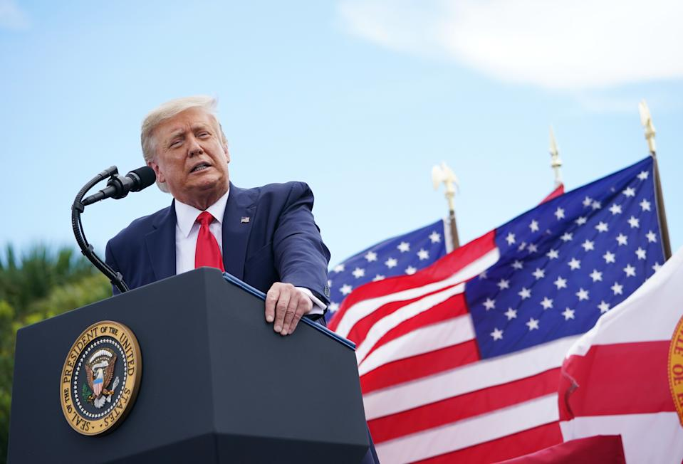 President Trump speaks on the environment at the Jupiter Inlet Lighthouse and Museum in Jupiter, Fla., on Tuesday. (Madel Ngan/AFP via Getty Images)
