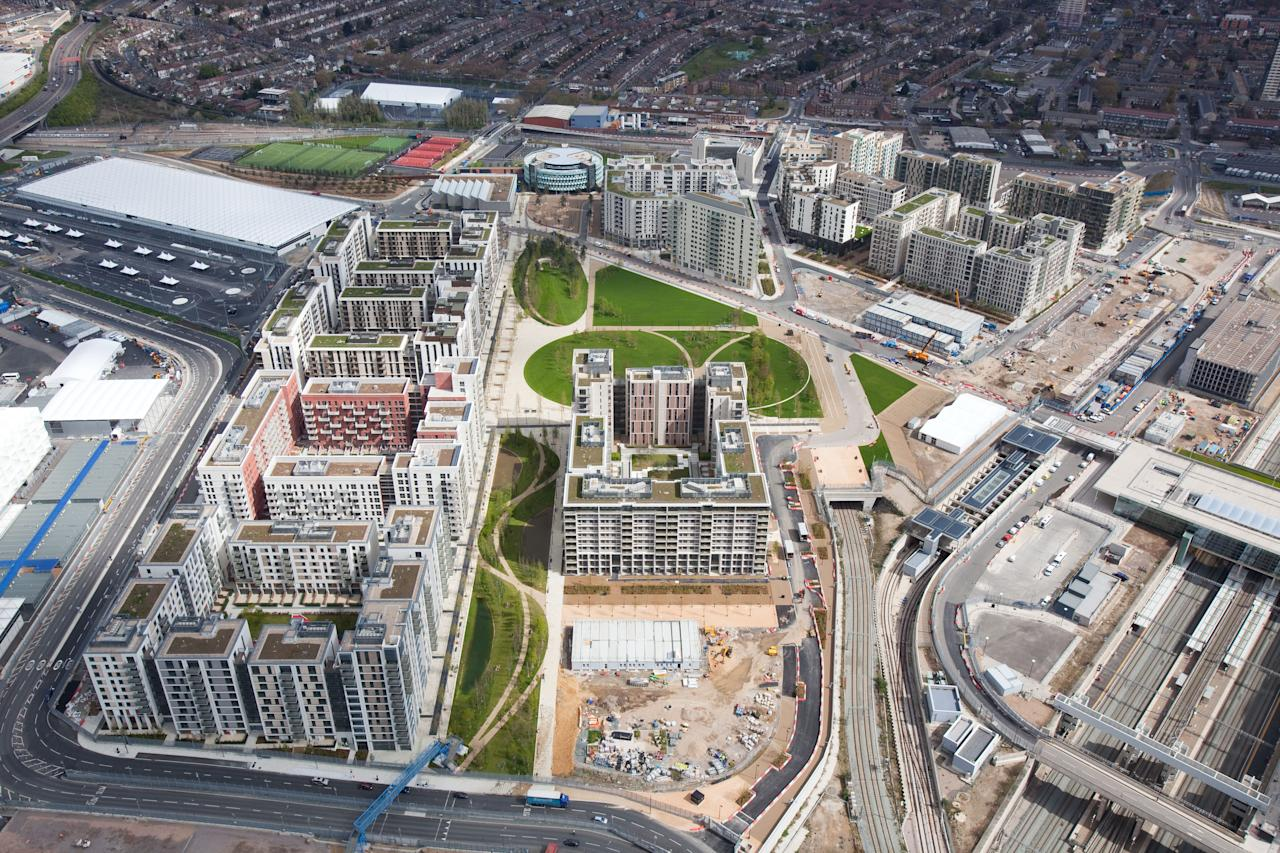 In this handout image provided by the The London Organising Committee of the Olympic Games (LOCOG) an aerial view of the Athletes Village in the London 2012 Olympic Park on April 16, 2012 in London, England.  This photo was taken 2 days prior to the 100 day mark until the start of the 2012 London Olympics.  (Photo by  Anthony Charlton/LOCOG via Getty Images)