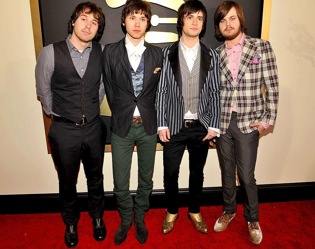 "We're guessing that Las Vegas quartet Panic at the Disco was in attendance to support their upcoming sophomore effort, ""Pretty. Odd.,"" which is scheduled for release on March 25. Lester Cohen/<a href=""http://www.wireimage.com"" target=""new"">WireImage.com</a> - February 10, 2008"