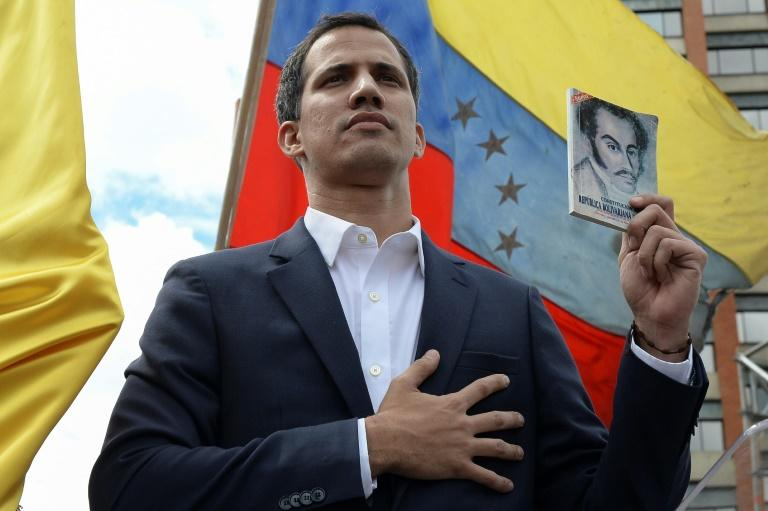 Venezuelan opposition leader Juan Guaido, speaker of the national assembly and recognized by more than 40 countries as Venezuela's interim president, as he declared himself the country's acting leader on January 23