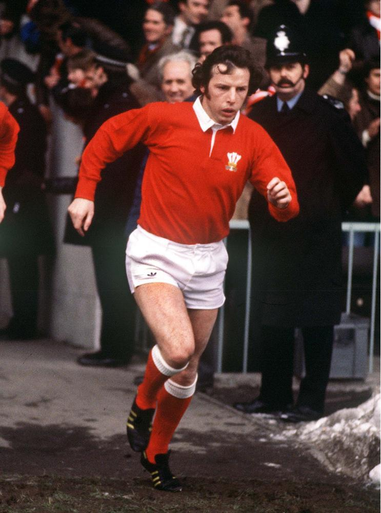 JJ Williams runs out at Cardiff Arms Park during the 1975-76 Australia tour of Great Britain and Ireland